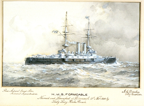 H.M.S._Formidable_Named_and_Launched_at_Portsmouth_17th_Novr_1898_by_Lady_Lucy_Hicks_Beach._Rear_Admiral_Ernest_Rice,_Admiral_Superintendent._J_A_Yates_Esq,_Chief_Constructor_RMG_PU6310